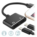 2-in-1 Laden & Audio Lightning Adapter - Schwarz