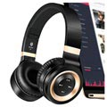 3 in 1 Faltbares Mega Bass Bluetooth Headset P6 - Schwarz / Gold