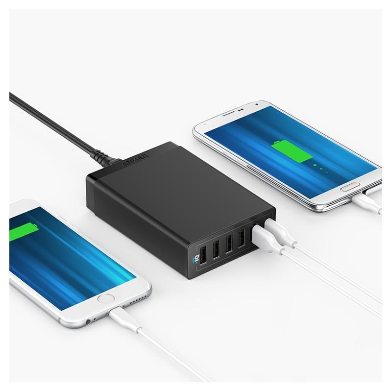 Anker PowerPort 6 Wand ladegerät mit Schnellladefunktion 6 x USB, 60W Schwarz