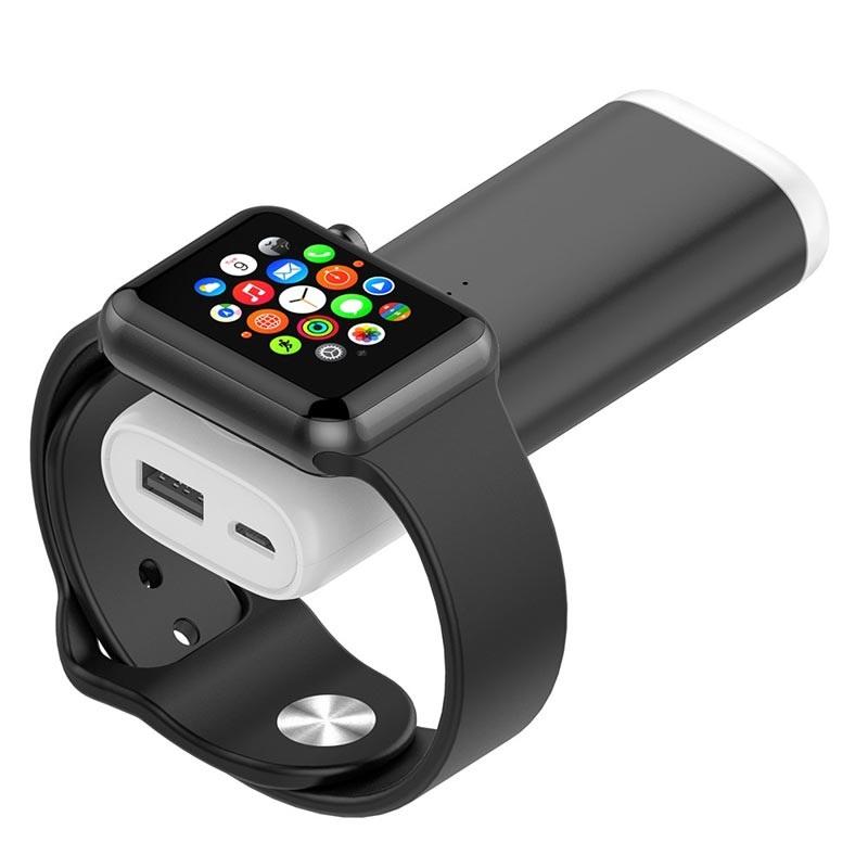Tragbarer Apple Watch Qi Ladegerät Powerbank Schwarz
