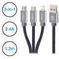 Recci Jeans 3-in-1 USB Kabel - Lightning, Typ-C, MicroUSB - 1.2m