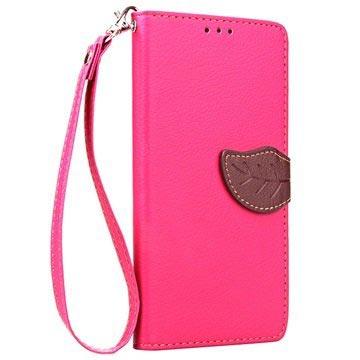 20a39cf859693 Microsoft Lumia 650 Leaf Geldbörse Tasche - Hot Pink